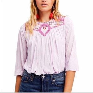 FREE PEOPLE BEGONIA EMBROIDERED BOHEMIAN SHIRT